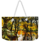 A River Landscape In Springtime Weekender Tote Bag