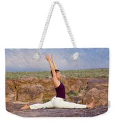 A Woman Practicing Yoga On A Dry Lake Weekender Tote Bag