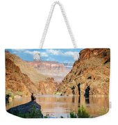 A Woman Sits By The Colorado River Weekender Tote Bag