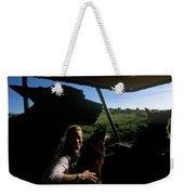 A Woman Sits In Her Safari Jeep Weekender Tote Bag