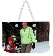 A Young Boy And Mother Sledding Weekender Tote Bag