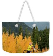 A Young Girl Mountain Biking In The San Weekender Tote Bag