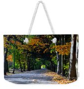 Alley With Falling Leaves In Fall Park Weekender Tote Bag