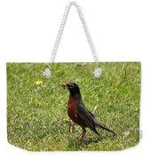 American Robin Gathering Worms Weekender Tote Bag
