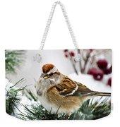 Christmas Sparrow Weekender Tote Bag