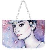 Audrey Hepburn Fashion Watercolor Weekender Tote Bag