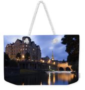 Bath City Spa Viewed Over The River Avon At Night Weekender Tote Bag