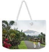 Besakih Temple And Mount Agung View In Bali Indonesia Weekender Tote Bag