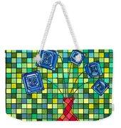 Blue Square Flowers Weekender Tote Bag