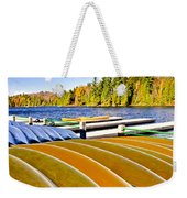 Canoes On Autumn Lake Weekender Tote Bag by Elena Elisseeva