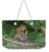 Cedar Waxwings Weekender Tote Bag by Linda Freshwaters Arndt