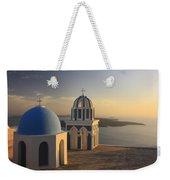 Churches At Sunset Firostefani Santorini Cyclades Greece  Weekender Tote Bag