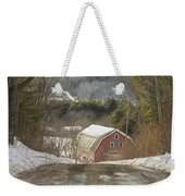Country Road And Barn In Winter Maine Weekender Tote Bag
