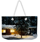Cozy Log Cabin At Moon-lit Winter Night Weekender Tote Bag