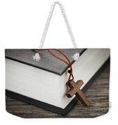 Cross And Bible Weekender Tote Bag by Elena Elisseeva