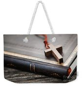 Cross On Bible Weekender Tote Bag by Elena Elisseeva