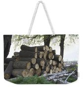 Cut Tree Trunks Piled Up For Further Processing After Logging Weekender Tote Bag