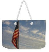 Draped American Flag Pole Dusk Casa Grande Arizona 2004 Weekender Tote Bag