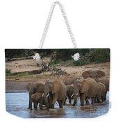 Elephants Crossing The River Weekender Tote Bag