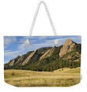 Flatirons With Golden Grass Boulder Colorado Weekender Tote Bag