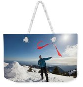 Flying A Kite On A Snowy Mountain Weekender Tote Bag