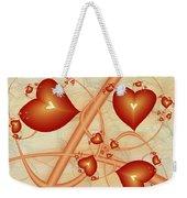 Fractal Red Hearts Weekender Tote Bag
