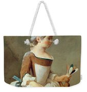 Girl With Racket And Shuttlecock Weekender Tote Bag