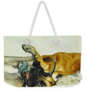 Great Dane And Australian Sheperd Weekender Tote Bag