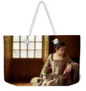 Lady In 16th Century Clothing With A Mandolin Weekender Tote Bag