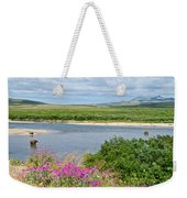 2-lay Of The Land-grizzly Bears In Moraine River In Katmai Np-ak Weekender Tote Bag