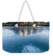 Mt. Michener And Ice On Abraham Lake Weekender Tote Bag
