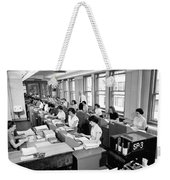 Office Workers Entering Data Weekender Tote Bag by Underwood Archives