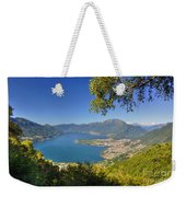 Panoramic View Over An Alpine Lake Weekender Tote Bag