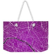 Paris Street Map - Paris France Road Map Art On Colored Backgrou Weekender Tote Bag