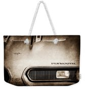 Plymouth Barracuda Grille Emblem Weekender Tote Bag