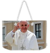 Pope Francisco Weekender Tote Bag by Diane Greco-Lesser