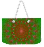 Psychedelic Spiral Vortex Green And Red Fractal Flame Weekender Tote Bag
