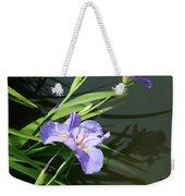 Purple Iris Reflection Weekender Tote Bag