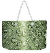 Raindrops On Green Leaf Weekender Tote Bag by Elena Elisseeva