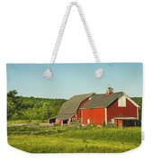Red Barn And Fence On Farm In Maine Weekender Tote Bag