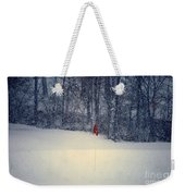 Red Flag On The Snow Covered Golf Course Weekender Tote Bag