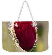 Red Poppy Bud Weekender Tote Bag