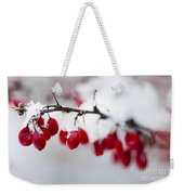 Red Winter Berries Under Snow Weekender Tote Bag