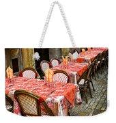 Restaurant Patio In France Weekender Tote Bag by Elena Elisseeva