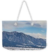 Rocky Mountains Flatirons And Longs Peak Panorama Boulder Weekender Tote Bag