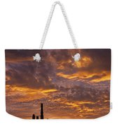 Silhouetted Saguaro Cactus Sunset At Dusk With Dramatic Clouds Weekender Tote Bag