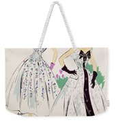 Vintage Fashion Sketches And Fabric Swatches Weekender Tote Bag