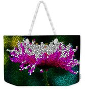 Stained Glass Pink Chrysanthemum Flower Weekender Tote Bag