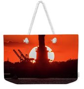 Statue Of Liberty Sunset. Nyc Harbor Weekender Tote Bag