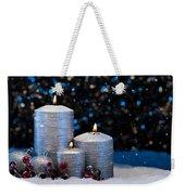 Three Silver Candles In Snow  Weekender Tote Bag